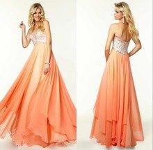 New Charming A-line Liebsten Bodenlangen Chiffon Abendkleid Lange Backless Abend-formale Kleid Ärmellose Kristalle F1151