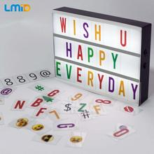 Night Lamp DIY LED Letters Cards Combination Light Box  A4 Size USB AA Battery Symbol Cards Decoration Lamp Message Board