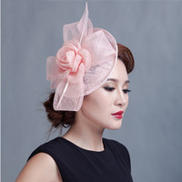 ShanFu 2018 Vintage Lady Sinamay Feather Fascinator Headband for Party Church Hats Hair Accessories Hair Clips for Women