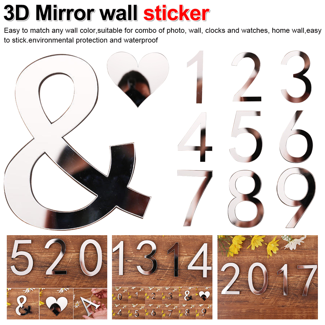 Home Decor Bedroom Living Room DIY Art Mural 3D Arabic Numerals 0-9 Acrylic Mirror Surface Wall Sticker Self-adhesive Poster
