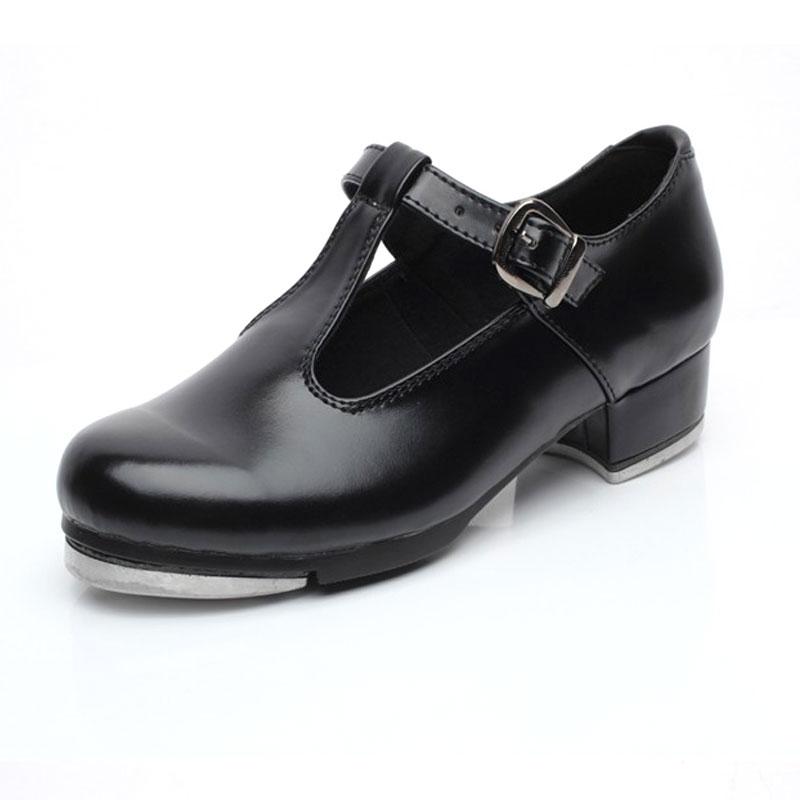 Women Girl's Tap Dance Shoes Patent PU Leather Kids Children Step Dance Shoes Teacher Stage Shoes Size 26-42 Heel 3cm VA30