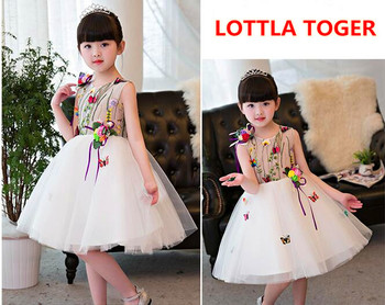 Summer Girl Dress Floral Butterfly Embroidery Kids Dresses For Girls Party Wear Princess Girl Clothes For 1-12T Birthday Dress