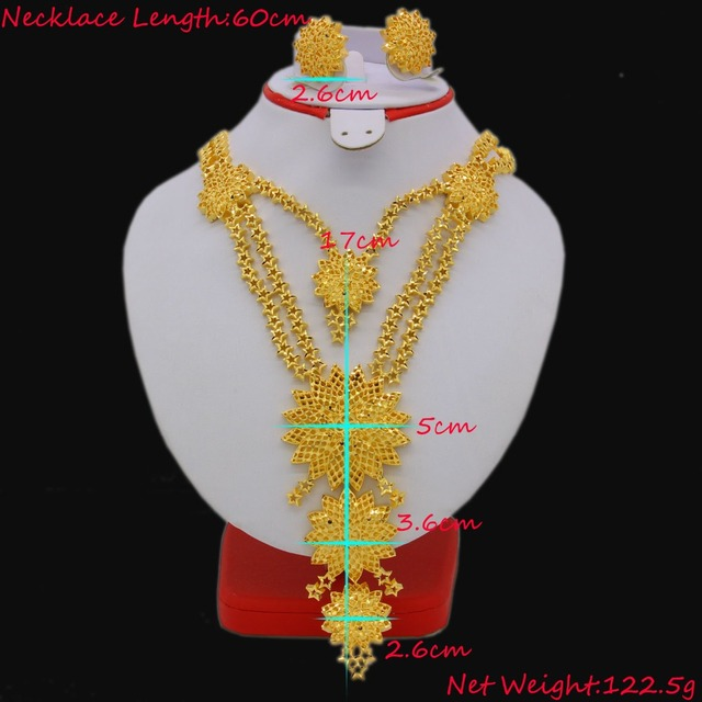 Fashion 60cm/23.6inch Necklace/Earrings Jewelry Sets For Women Gold Color Arab/Ethiopian Jewelry Luxury Wedding Gifts