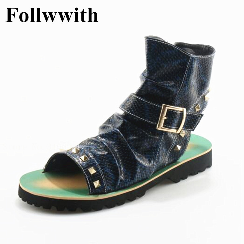 2018 Follwwith Brand Summer Gladiator Men Sandals Rivets Thong Shoes Men Ankle Strap Designers Beach Mens Slippers Boots