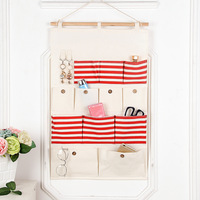 Fashion 12 Pocket Sundries Hanging Storage Bags Organizer Bedroom Organizadores Linen Cable Organizer Creative Storage Bag