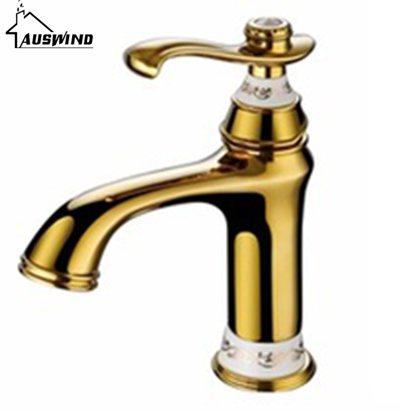 European Antique Basin Hot and Cold Tap Gold Single Hole Copper Baking Bathroom Counter Basin Faucet IU-41European Antique Basin Hot and Cold Tap Gold Single Hole Copper Baking Bathroom Counter Basin Faucet IU-41