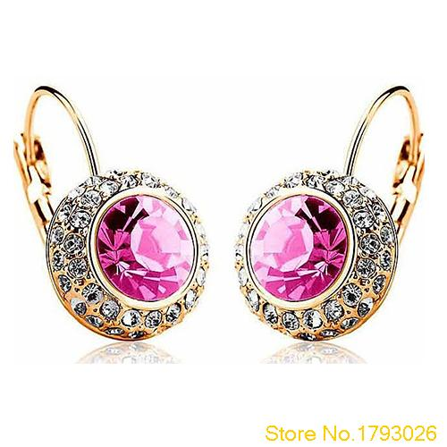 Elegant Crystal Dangle Round Created Earrings with Rhinestone Round River