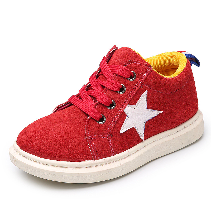 Autumn Winter Children Genuine Leather Sneakers Boys Casual Star Low Cut Shoes Girls Side Zipper Shoes