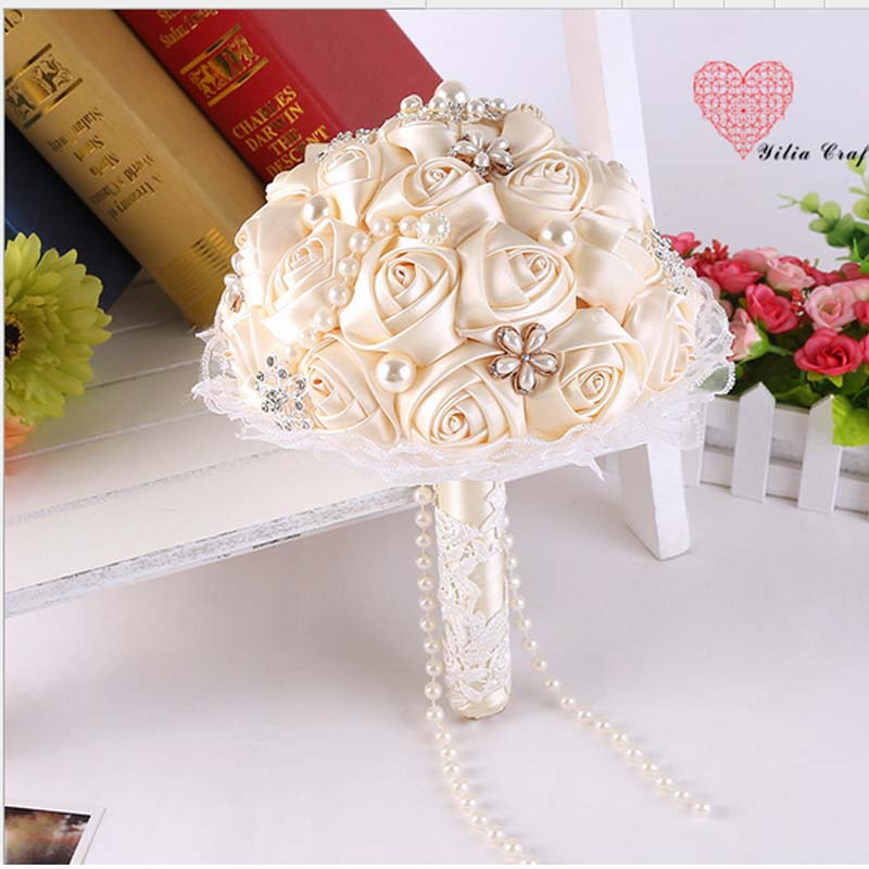 European Style Bride Bouquet Silk Rose Aritifivial Flowers Brooch Pearls Hand Holding Flower Wedding In Artificial Dried From