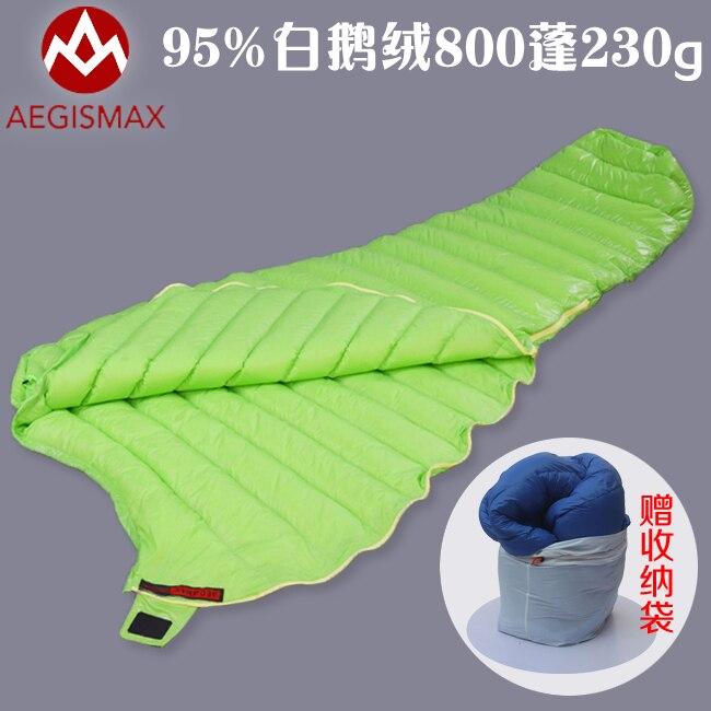 ФОТО 95% white goose down filling ultralight comfortable material mummy summer sleeping bag