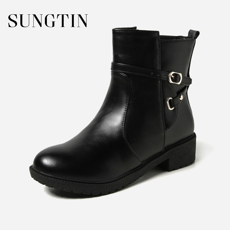 Sungtin New Plush Warm Women Winter Boots Classic Black Riding Boots Pu Leather Large Size Flat Ankle Boots Ladies Short Booties цена 2017
