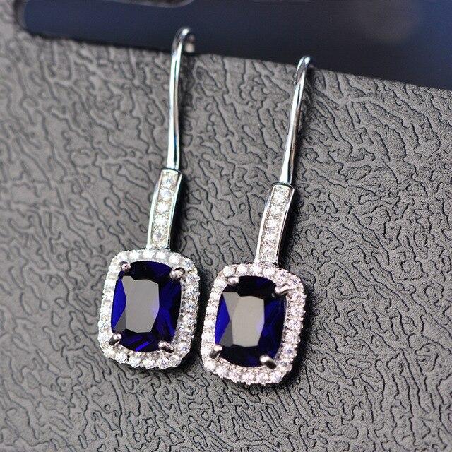 925 Sterling Silver Emerald Citrine Sapphire Gems Drop Dangle Hook Earrings  1