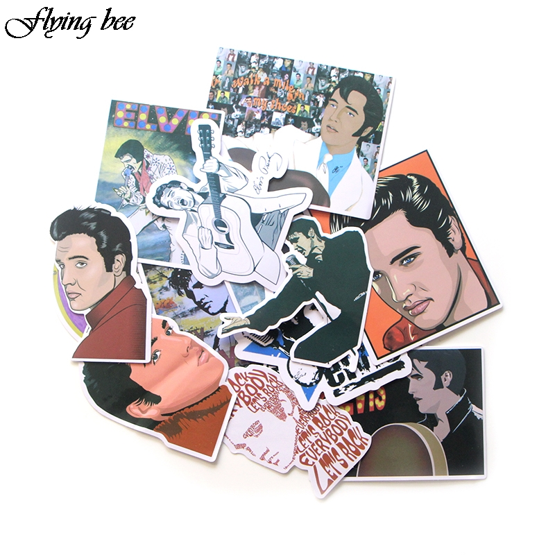 Image 2 - Flyingbee 14 Pcs Sticker Graffiti The King Funny Stickers for DIY Sticker on Travel case Laptop Skateboard X0024-in Stickers from Consumer Electronics
