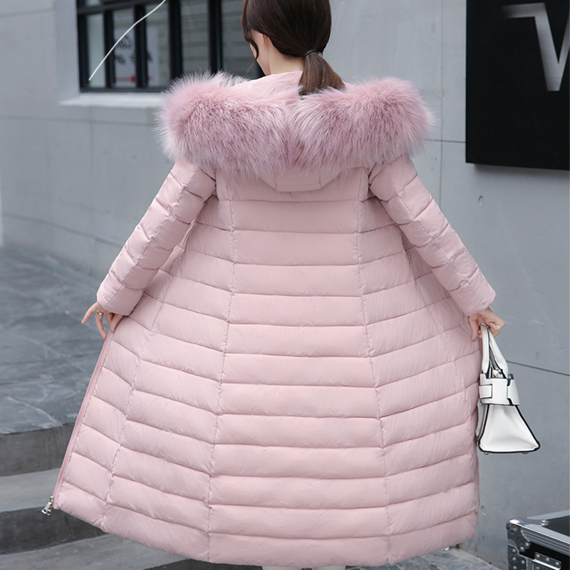 With Fur Collar Hooded Winter Jacket Women Long Outwear Cotton Padded Womens Jackets 2019 New Casual Female Long   Parka