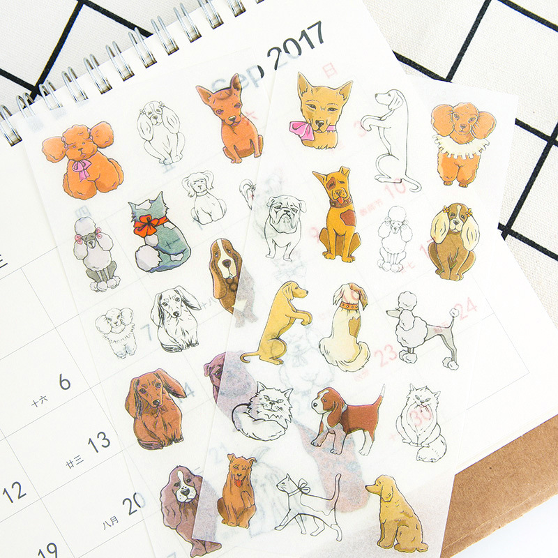 6 pcs/pack Lovely Family Pet Animal Stickers Set Decorative Stationery Stickers Scrapbooking DIY Diary Album Stick Label spring and fall leaves shape pvc environmental stickers decorative diy scrapbooking keyboard personal diary stationery stickers