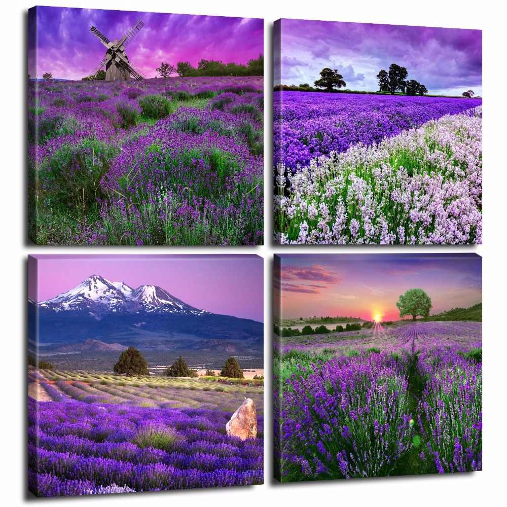 Lavender Home Decor Canvas Wall Art Painting Picture Purple Flowers Provence Live Painting Modern Art Landscape Photo