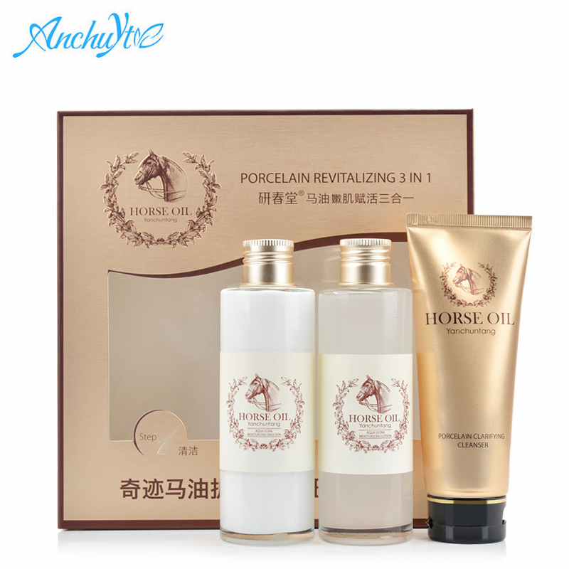 3Pcs Skin Care Set Foam Cleanser Face Toner Emulsion Horse Oil Cream Whitening Moist Anti Wrinkle Beauty Cosmetic Sets Face Care skin care laikou collagen emulsion whitening oil control shrink pores moisturizing anti wrinkle beauty face care lotion cream