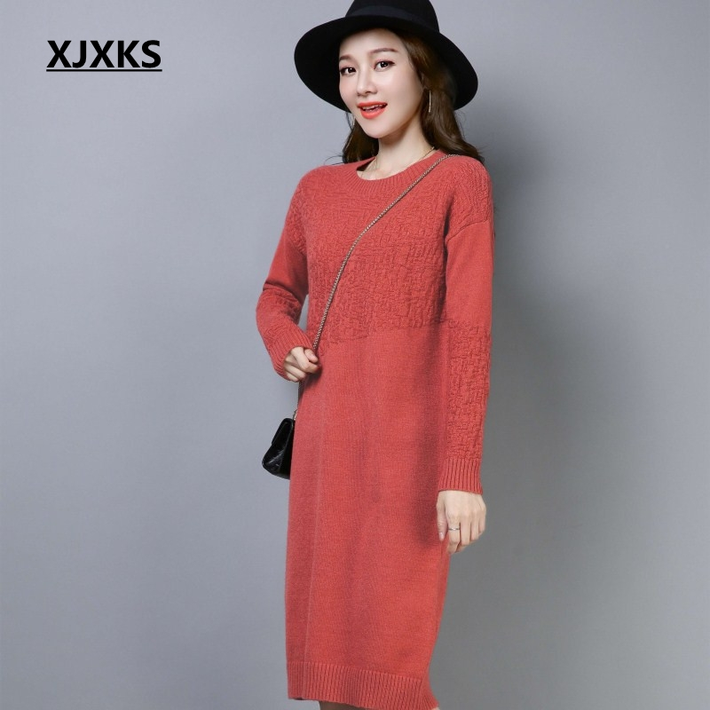 XJXKS befree fashion young ladies solid color dress comfortable stretch dropped sleeve warm outwear women sweater