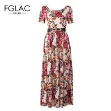 Fglac женщин платье 2017 г. новинка из весенней коллекции кружевное платье Для женщин с короткими рукавами с О-образным вырезом Женские праздничное платье элегантный тонкий длинное платье
