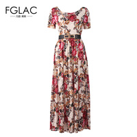 FGLAC New 2017 Spring Lace Dress Women Short Sleeved Printed O Neck Women Party Dress Plus