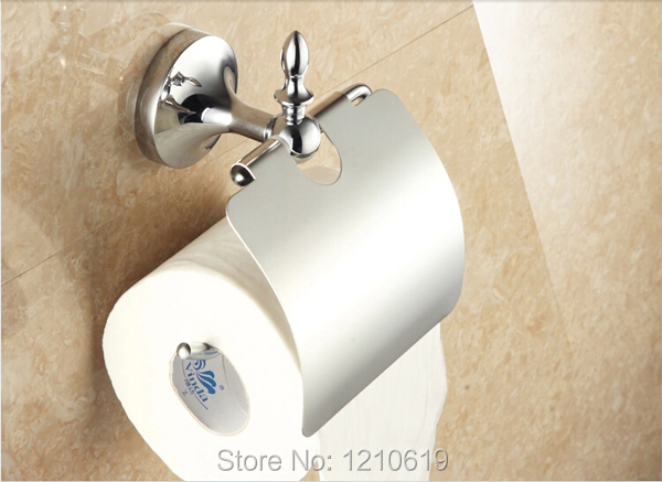Newly US Euro Style Chrome Polish Bathroom Toilet Paper Holder With Cover Roll Tissue Rack Shelf Wall Mounted