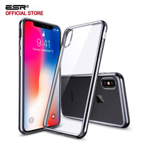 Case For Iphone X ESR Clear Soft TPU Plating Frame Bright Glossy Metal Coloring Bumper Back
