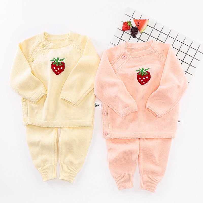 Cartoon Cute Strawberry Baby Girl Clothes Set Newborn Knitted Sweaters Coat Infant Outerwear Toddler Cardigan Pants 2pcs Suit baby boy girl clothing set toddler clothes autumn cartoon tracksuits kids sport suit set coat pant 2pcs casual cardigan coats