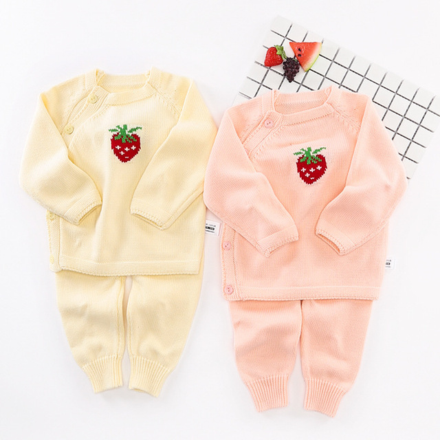 f71e0c4b90d1 Cartoon Cute Strawberry Baby Girl Clothes Set Newborn Knitted Sweaters Coat  Infant Outerwear Toddler Cardigan Pants