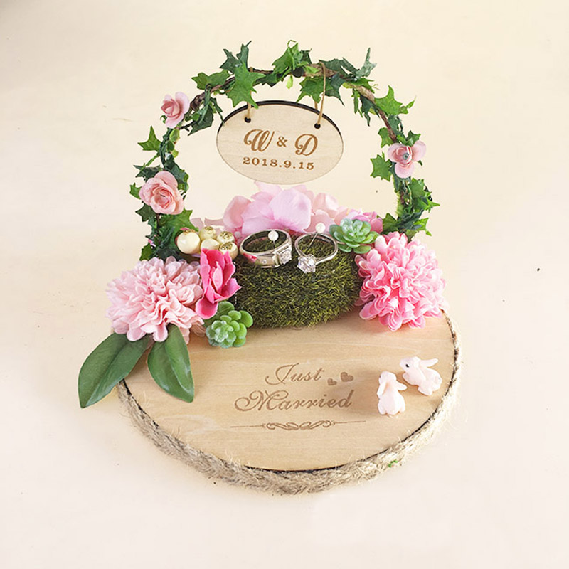 1pcs lot Forest Rustic Wooden Anniversary Engagement Ring bearer holder Marriage proposal ideas Custom ring pillow for wedding image