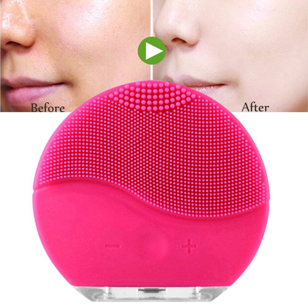 Cuidados com a pele lavar o rosto elétrica escova de limpeza facial massagem de vibração de silicone à prova d' água escova facial treatmeat Cuidados de Beleza
