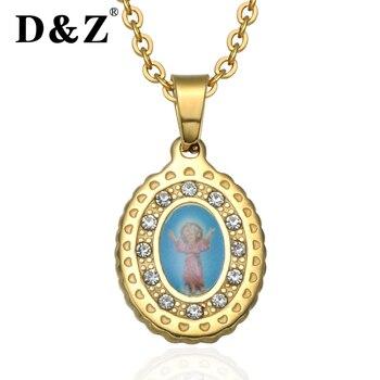 247dc83b5530 D   Z oro Virgen María católica COLLAR COLGANTE Ángel Acero inoxidable  cristal Maria colgantes y collares para la joyería religiosa