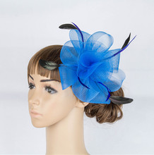 Multiple Color Crinoline Fascinator Headwear Feather Colorful Mesh Party Show Hair Accessories Millinery Tail Hats Myq038