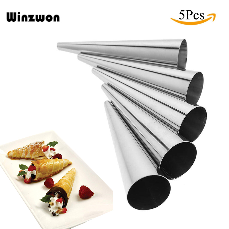 5Pcs/lot DIY Baking Cones Horn Pastry Roll Cake Mold Spiral Baked Croissants Tubes Cookie Dessert Kitchen Baking Tool(China)