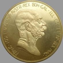 100 Corona 1908 Austria-Hungary Gold Coin Copy Brass Franz Joseph I 60th Anniversary of Reign