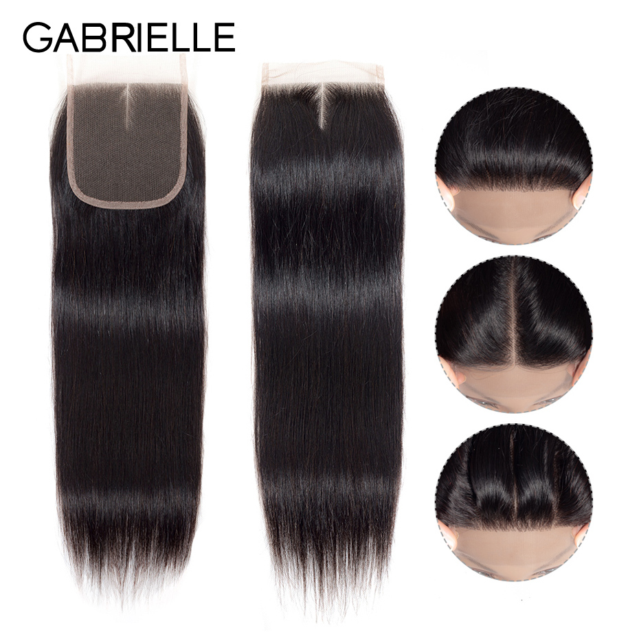 Gabrielle Lace Closure Swiss Natural-Color Straight Malaysian 4x4 Free/middle/three-part