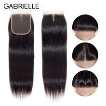"Gabrielle Hair Malaysian Straight Lace Closure Free/Middle/Three Part Natural Color 4x4 Swiss Lace Non Remy Hair Closure 8""-22""(China)"