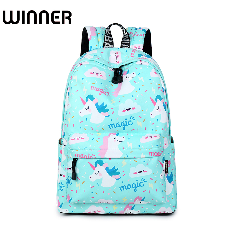 Cute Waterproof Women School Backpack Blue Unicorn Animal Pattern Printing Large Capacity Travel Girls College Bookbag fashion 15 6 inch waterproof fabric women backpack pink cute sushi cuisine pattern printing large capacity girls bookbags
