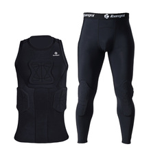 Kuangmi Mens Training Suit Running Soccer Tights Basketball Vest Protection crashproof Gym Sportswear Track Suits