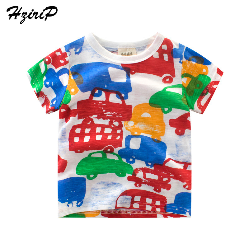 HziriP 2018 Summer Tops Kids Boy Printing Car Tops O-neck Short Sleeve Cotton T Shirt Ca ...