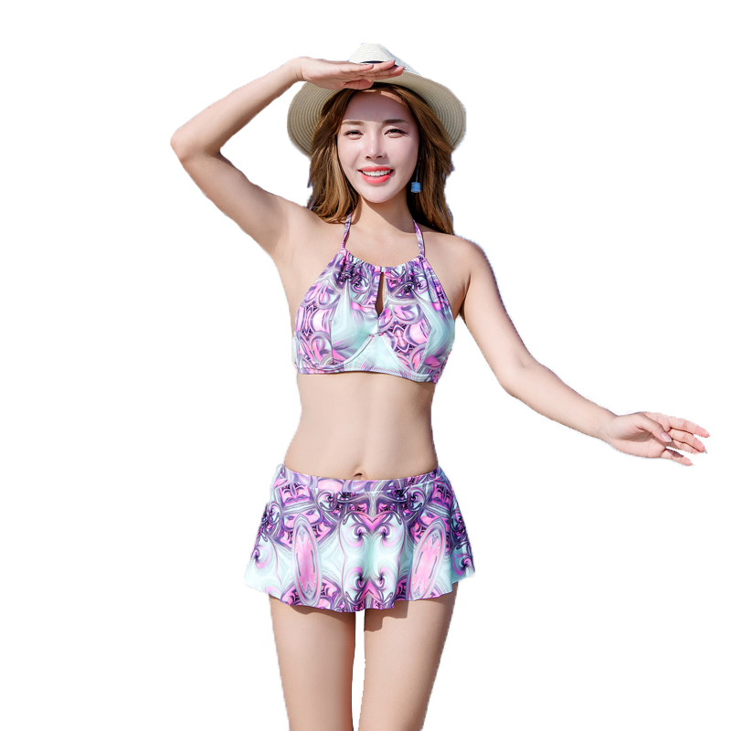 Hot Summer High quality Retro  3 Pieces Sexy Women Bikini Swimwear with Beach Print Cover-up Swimsuit Hot Girl Bathing suit