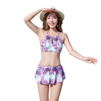 Hot Summer High quality Retro 3 Pieces Sexy Women Bikini Swimwear with Beach Print Cover up Swimsuit Hot Girl Bathing suit