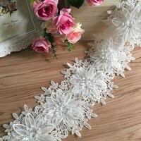 2 Yard Lot 4 Colors DIY Gauze Bilateral Embroidery 3D Flower Lace Trim Lace Fabric 12cm