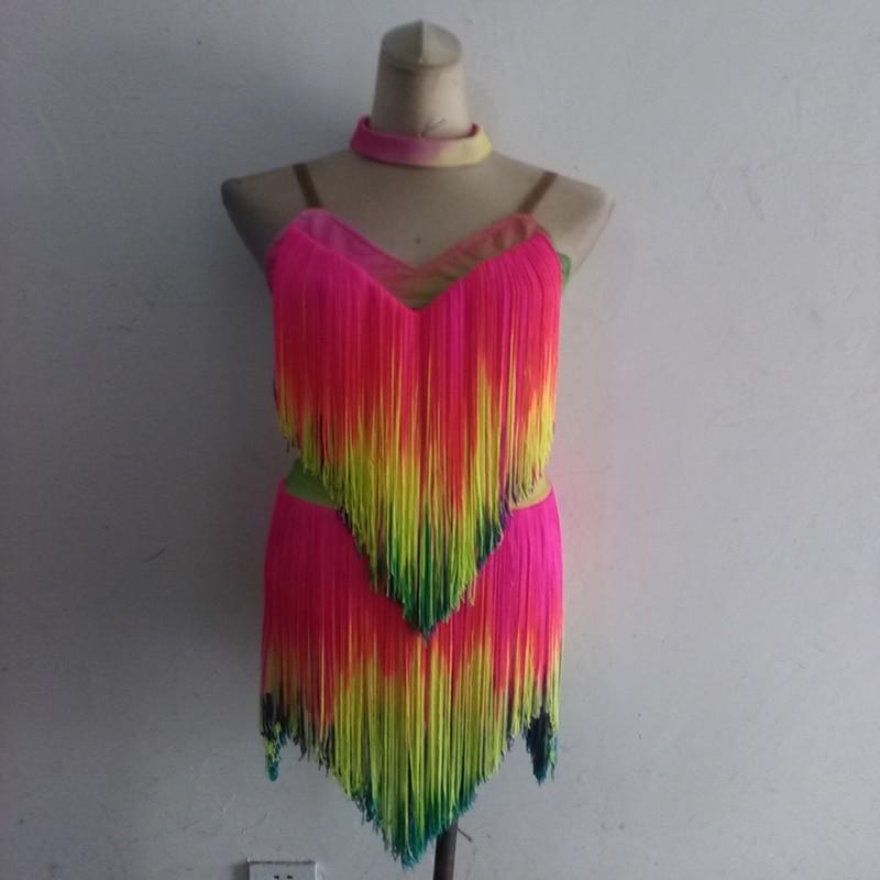Nouveau style de danse latine costumes hauts sexy couleurs gland robe de danse latine pour les femmes de danse latine robes S-4XL
