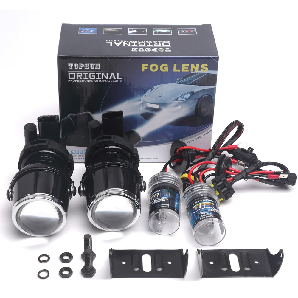 12V 35W Xenon H3 Fog Lamp Hid Bulb 6000K Fog Light Projector Lens Fog Lights For
