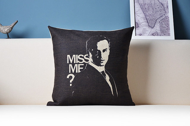 Delicieux Moriarty Andrew Scott MISS ME Detective SHERLOCK Blue Pillow Massager Cover  Movie Pillows Euro Home Decor