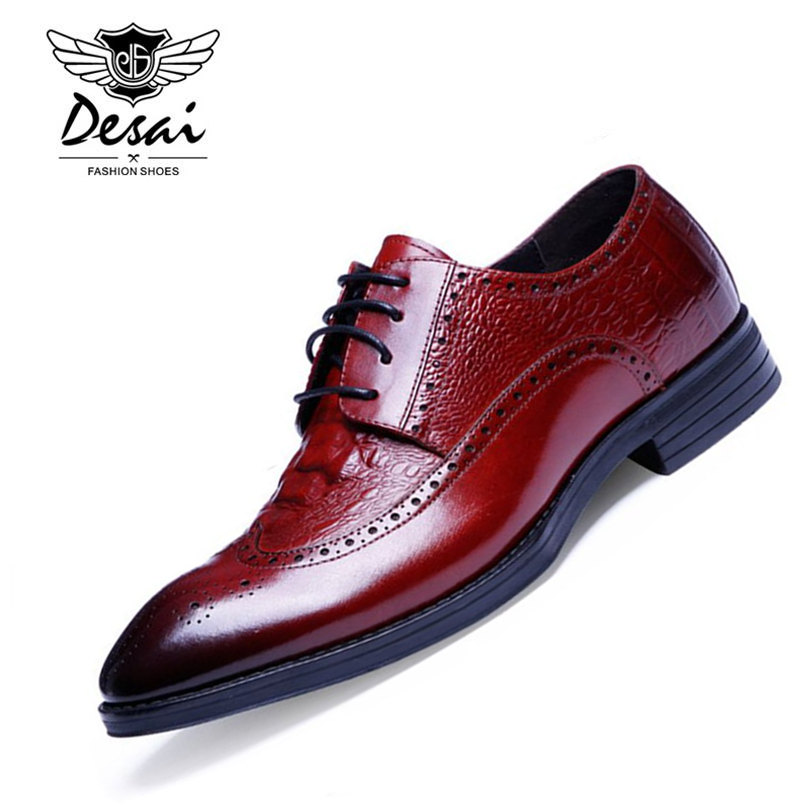DESAI Brand Luxury Mens Dress Shoes Genuine Leather Pointed Toe Carved Crocodile Style Wedding Party Men Shoes For Business