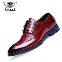DESAI Brand Luxury Mens Dress Shoes Prawdziwej Skóry Szpiczasty Nosek Rzeźbione Crocodile Styl Wesele Mężczyźni Buty Dla Biznesu