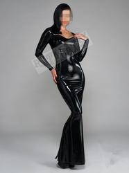 Латекс длинное вечернее платье пикантные резиновые вечерние для юбка партии черный сексуальный латекс с молнией сзади Wetlook, блестящий