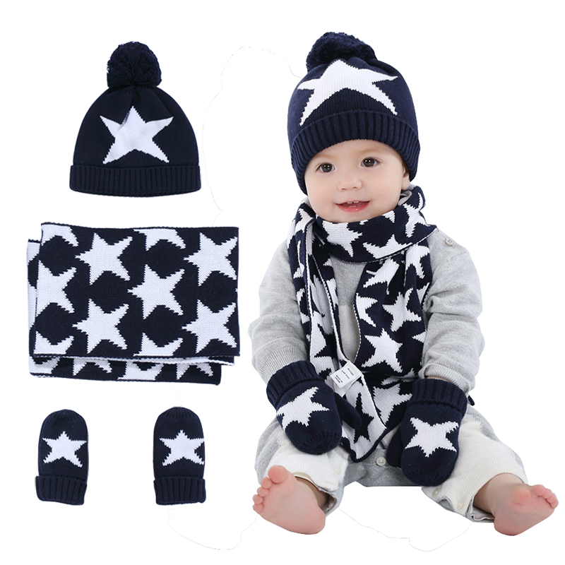 Boys Knitted Hat Scarf and Glove Set Children New 2016 Winter Fashion Kids  Boy Navy Blue Star Print 3 pieces Sets Christmas Gift-in Hats   Caps from  Mother ... 5e204837b19