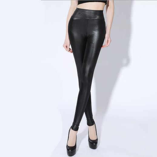 Mulheres Capri Calças 2019 Outono Inverno Elegante das Mulheres Elásticas Calças Lápis de Cintura Alta Sexy Desgaste OL PU Estiramento Skinny calças M419